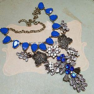 Vintage Runway Statement Necklace Cobalt Blue